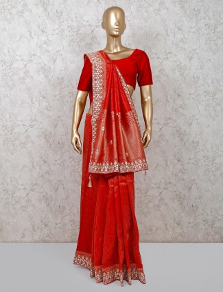 Exclusive red wedding banarasi silk saree