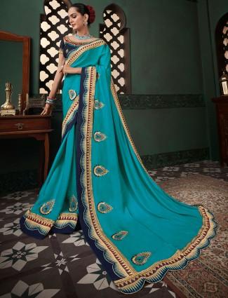 Exclusive satin silk festive wear sari