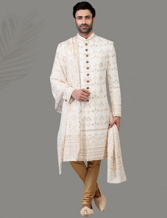 Exclusive white silk sherwani