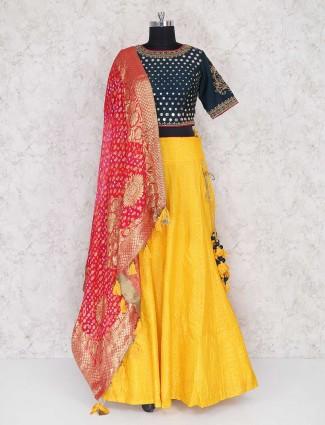 Exclusive yellow colored lehenga choli in silk fabric