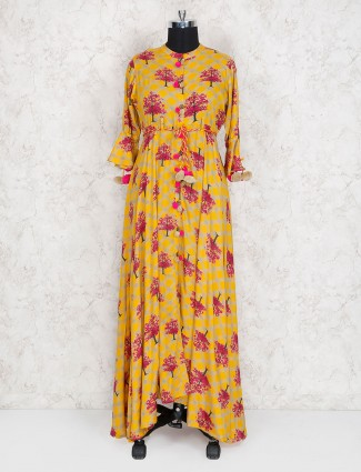 Exclusive yellow cotton festive kurti