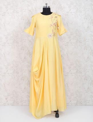 Exclusive yellow cotton silk festive kurti