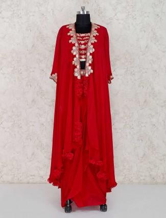 Excluysive red georgette party wear lehenga suit