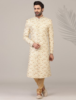 Fantastic beige thread woven silk sherwani