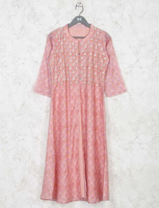 Festival wear pink cotton kurti