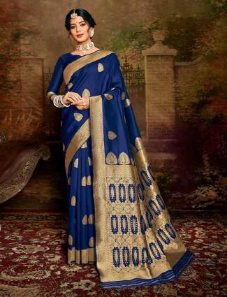 Festival wear Royal Blue handloom banarasi silk saree