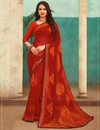 Festivals wear red georgette printed saree