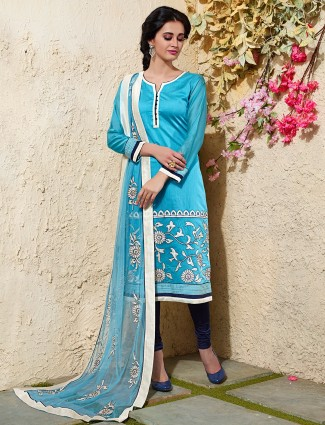 Festive blue chanderi silk salwar suit
