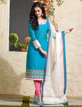 Festive blue chanderi silk wonderful salwar suit