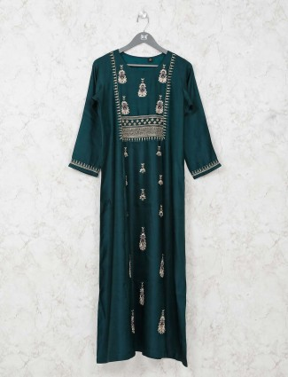 Festive bottle green tunic dress