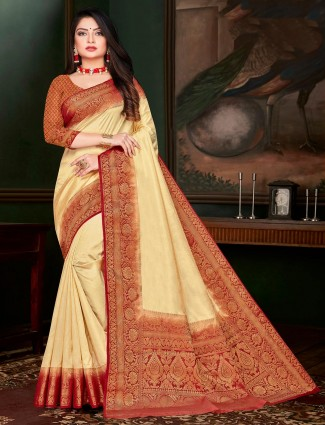 Festive days yellow cotton silk saree