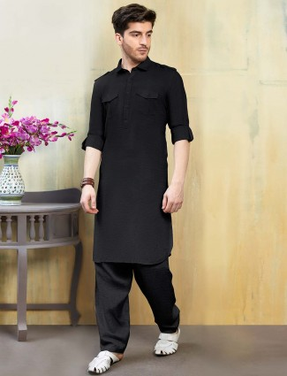 Festive function black solid cotton pathani suit