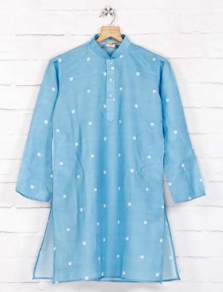 Festive function blue printed cotton kurta suit