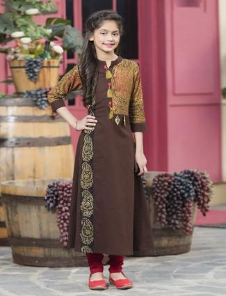 Festive function brown cotton salwar suit