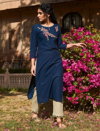 Festive function navy cotton pant suit