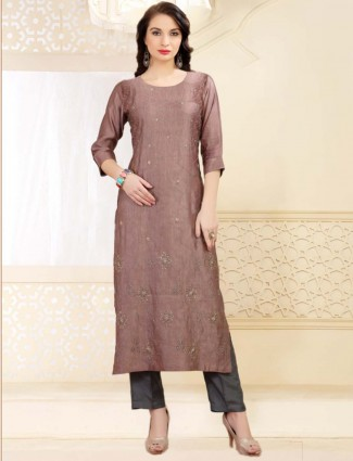 Festive function rose pink cotton silk long kurti