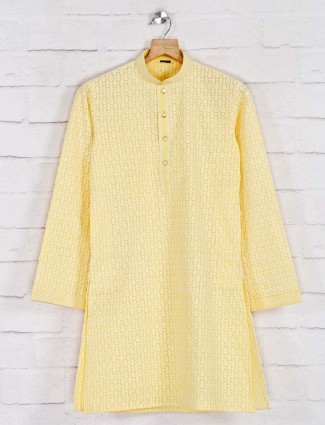 Festive function yellow cotton kurta suit