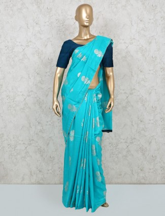 Festive get togther aqua dola silk saree