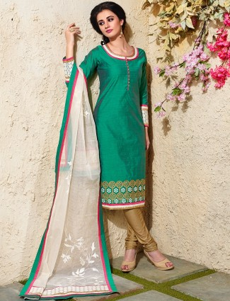 Festive green chanderi silk salwar suit