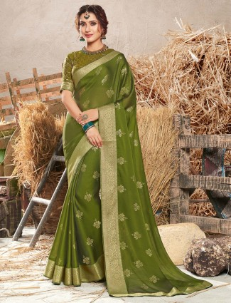 Festive green georgette saree