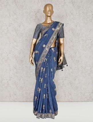 Festive grey semi silk saree