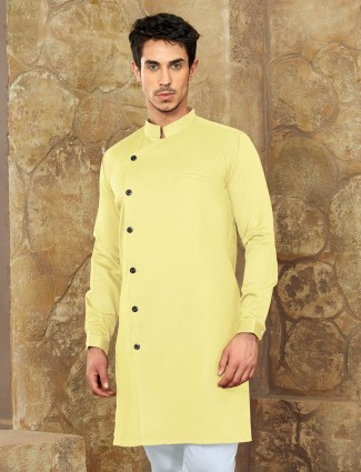 Festive lemon yellow cotton short pathani
