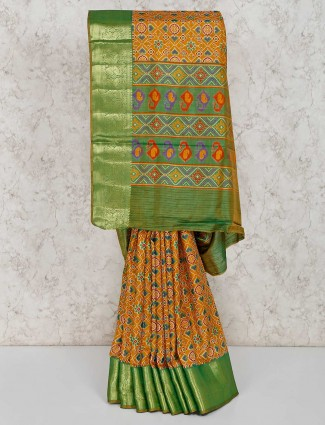 Festive mustard yellow cotton silk patola printed sari
