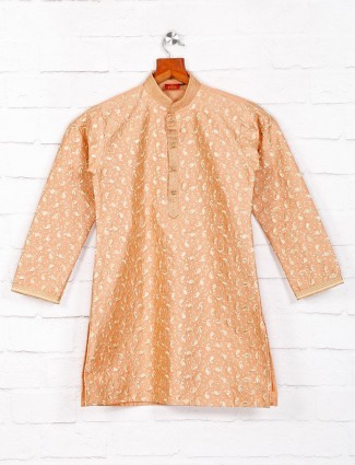 Festive occasion orange cotton fabric kurta