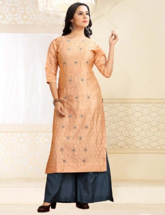 Festive occasion peach cotton silk kurti