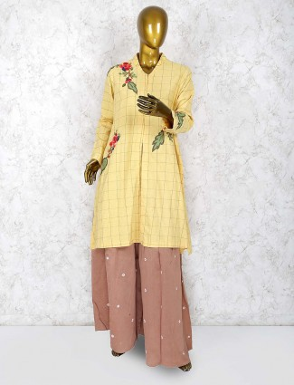 Festive occasion punjabi sharara suit in cotton