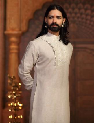 festive off white kurta suit