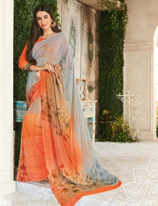 Festive orange saree in georgette