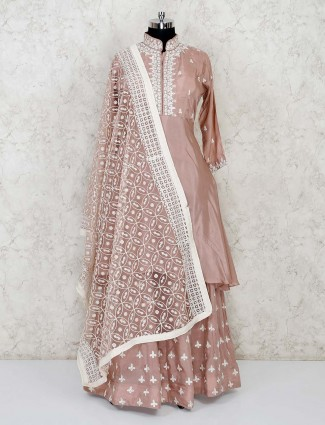 Festive peach lehenga suit in cotton silk
