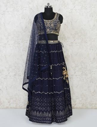 Festive perfect embellished navy lehenga in georgette
