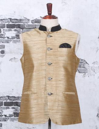 Festive plain golden nehru jacket