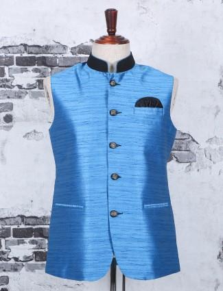 Festive plain nehru jacket in blue color