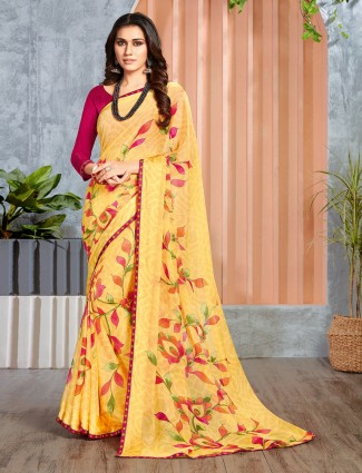 Festive printed yellow georgette saree