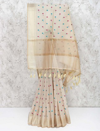 Festive saree in beige color