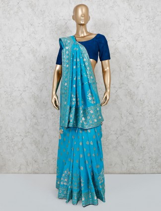 Festive wear aqua dola silk saree