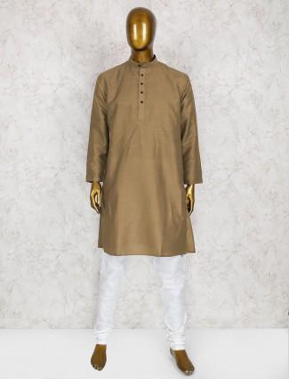 Festive wear beige cotton silk kurta suit