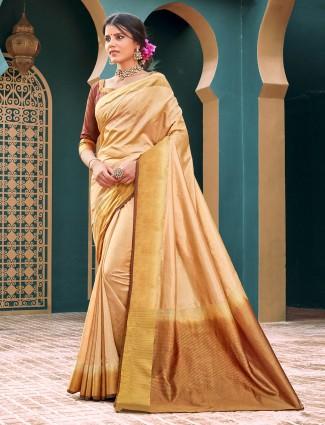 Festive wear beige cotton silk saree