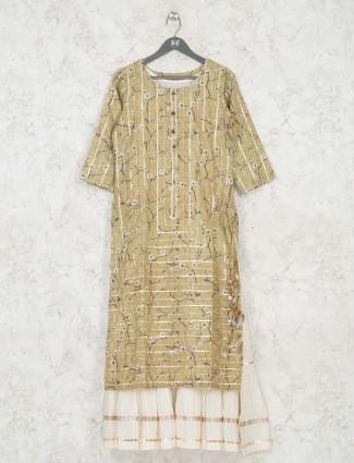 Festive wear beige printed cotton kurti