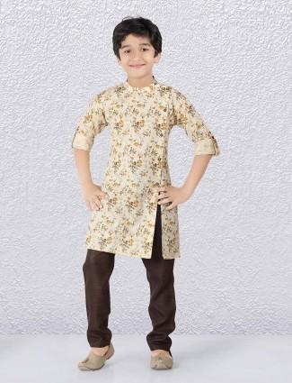 Festive wear beige printed simple kurta suit