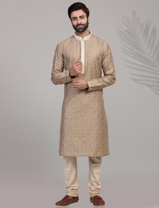 Festive wear beige stand collar kurta suit