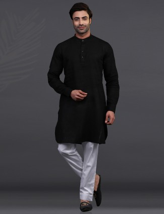 Festive wear black chinese collar kurta pajama