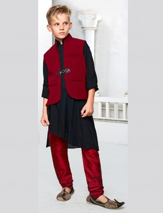 Festive wear black color waistcoat set