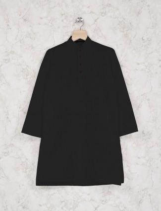 Festive wear black cotton kurta suit