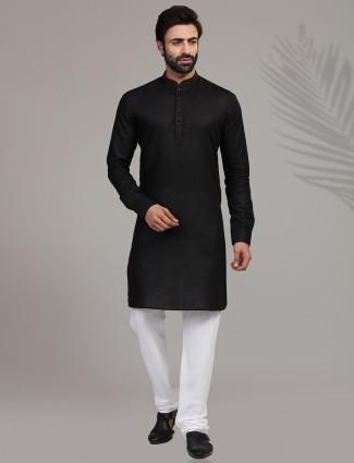 Festive wear black hue stand collar kurta suit