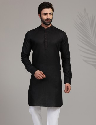 Festive wear black hue stand collar mens kurta