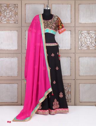 Festive wear black lehenga choli in georgette fabric